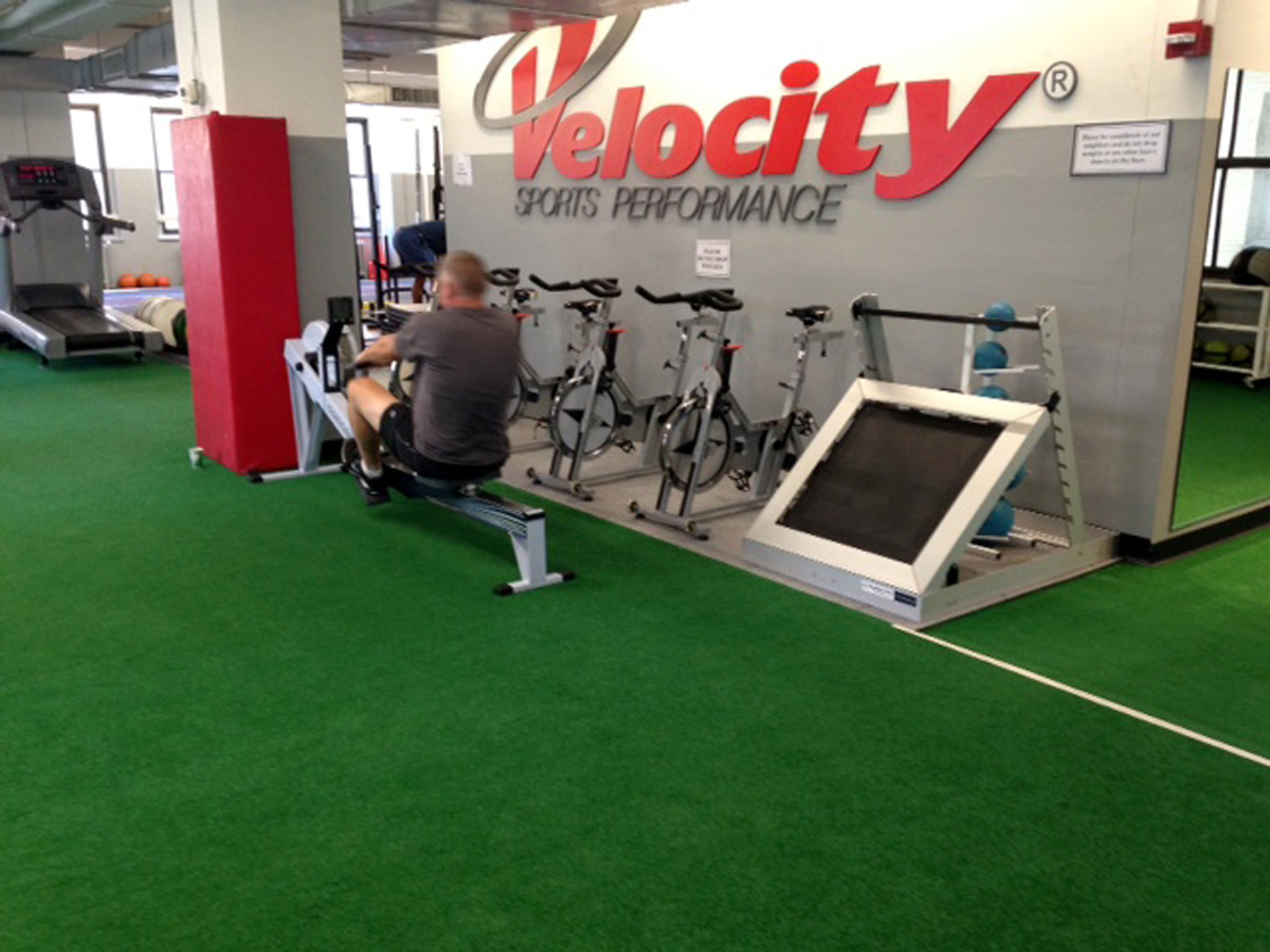 Sutton Carpet NYC indoor gym turf flooring installation for Velocity Sports Performance
